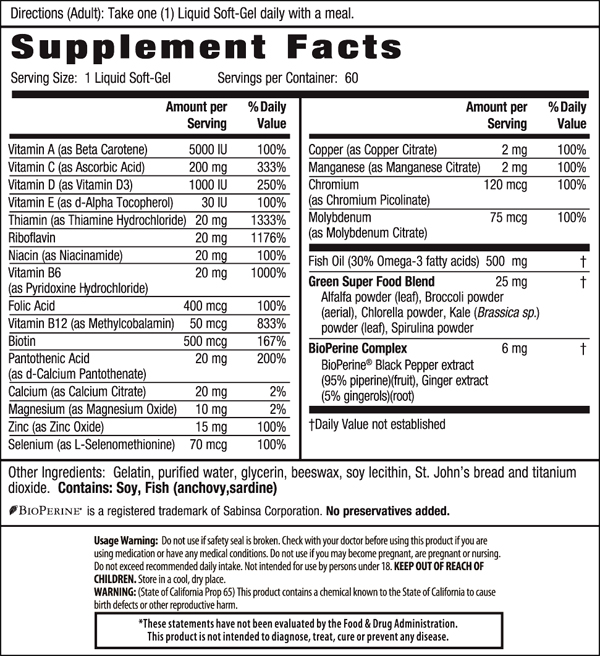 Irwin Naturals Only One Liquid-Gel Multi without Iron - 60 Softgels