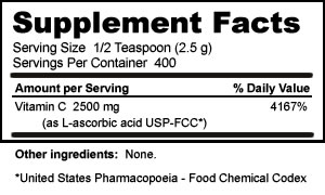 Supplement Facts for Vitamin C