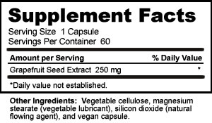 Supplement Facts for Nutribiotic Grapefruit Extract Capsules 250mg