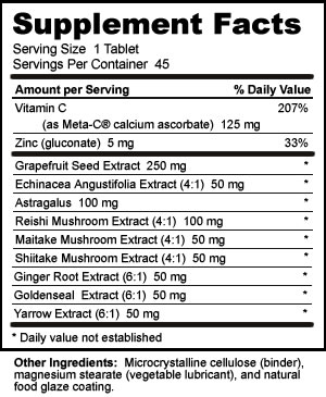 Nutribiotic DefensePlus 250 mg Supplement Facts