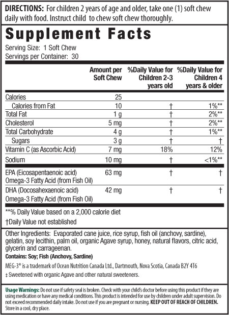 Irwin Kids Omega 3 Supplement, Citrus Chews Supplement Facts