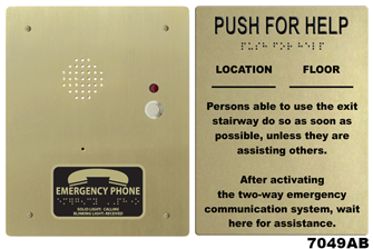 7049 Directions For Call Boxes Wall Sign With Braille