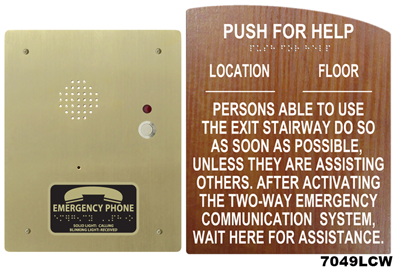 7049l Directions For Call Boxes Wall Sign With Braille
