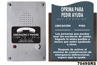 7049s Directions For Call Boxes Spanish Wall Sign With