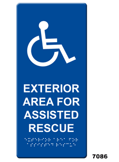 7086 Exterior Area For Assisted Rescue Wall Sign Rath