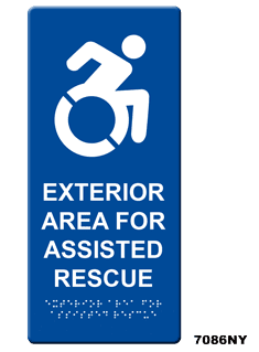 7086ny Exterior Area For Assisted Rescue Wall Sign Rath