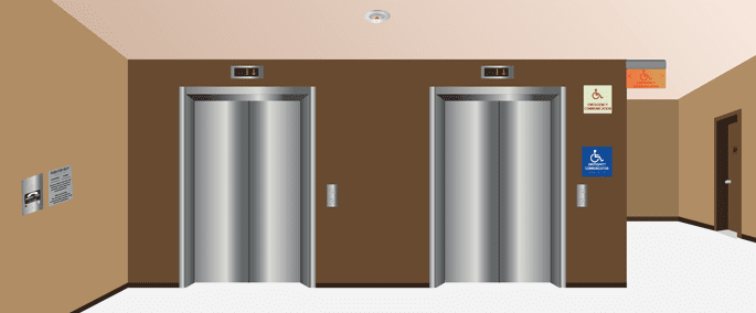 IBC Code requires Elevator Landings to have Directions, Illuminated, Door and Directional signage