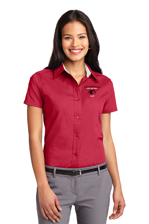 Short Sleeve Button Up Ladies Red