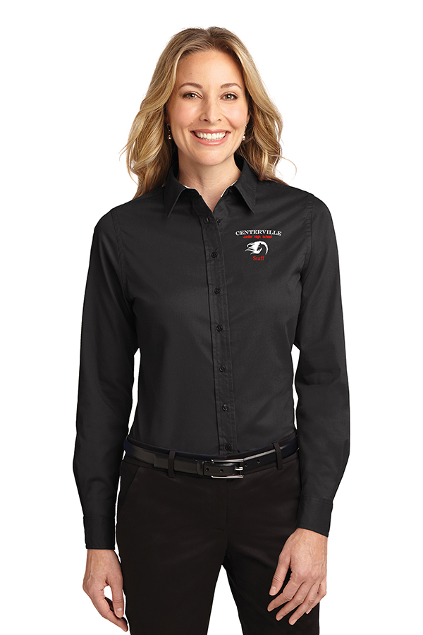 Long Sleeve Button Up Ladies Black