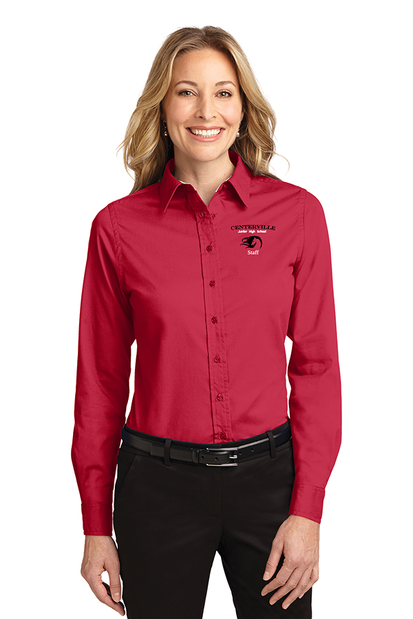 Long Sleeve Button Up Ladies Red
