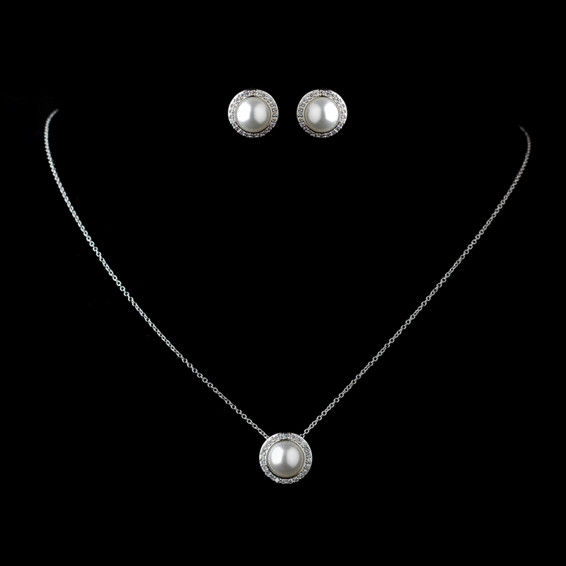 Forever Yours Solid 925 Sterling Silver Cubic Zirconia Cz And Pearl Necklace Earrings Set