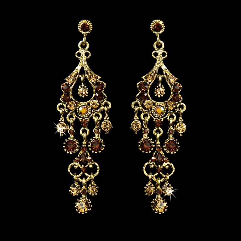 A touch of class creations promise antique gold crystal promise antique gold crystal chandelier earrings topaz mozeypictures Gallery