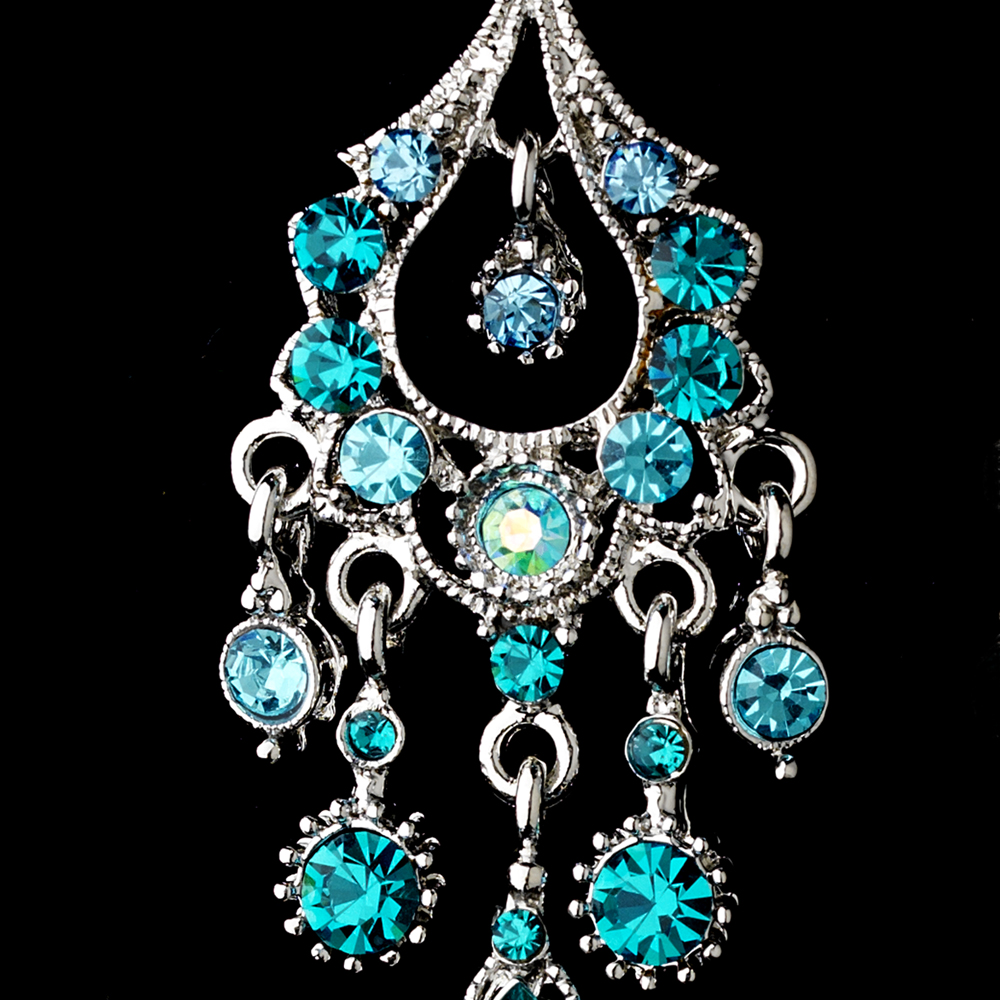 A Touch Of Class Creations Promise Antique Silver Crystal Chandelier Earrings Teal