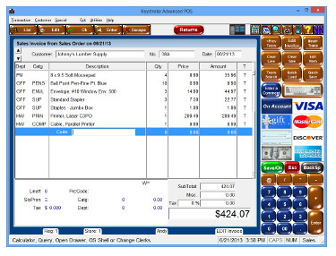 Keystroke Express Sales Screen