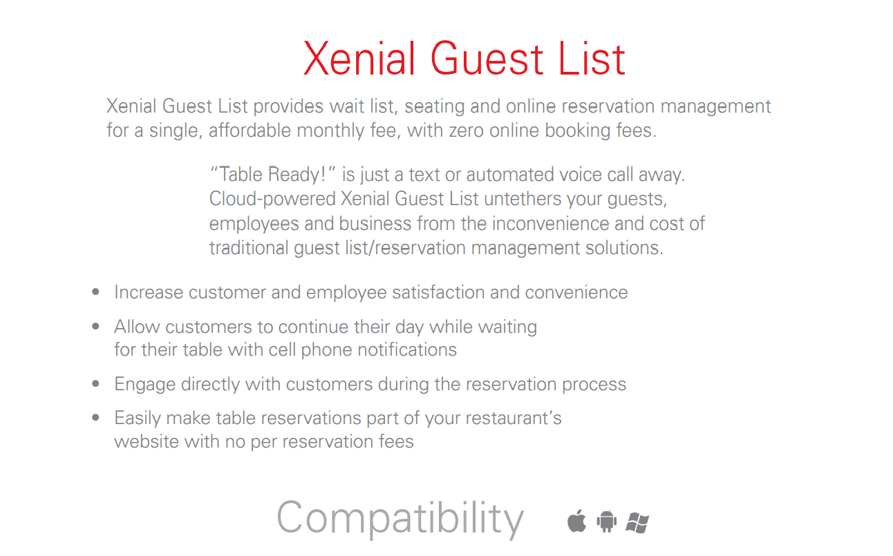 Xenial Guest List reservation and wait list application