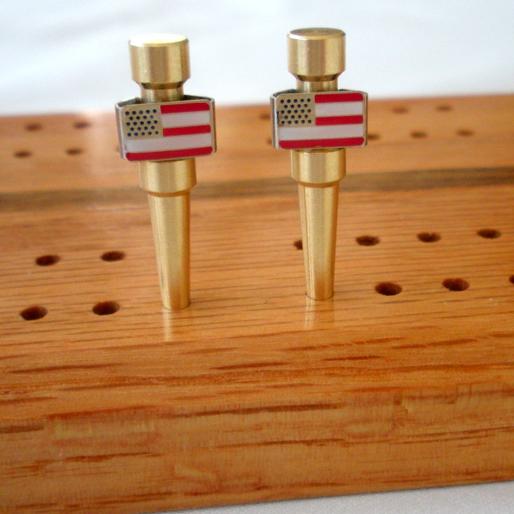 USA American Flag Patriotic Cribbage Pegs in Brass