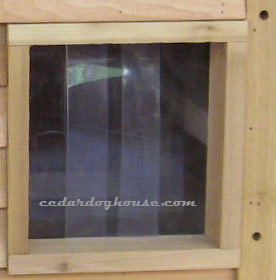 ... UV resistant clear vinyl door flaps installed. & Godzilla Cedar Dog House