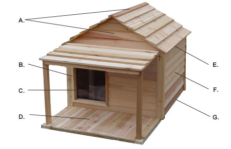 All natural earth friendly dog house kit precision handcrafted of Western red cedar wood from sustainable forestry.