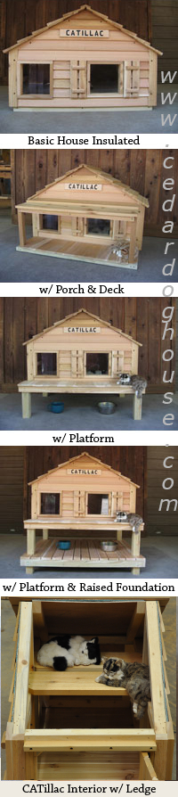Insulated cat house with heated cat house option.
