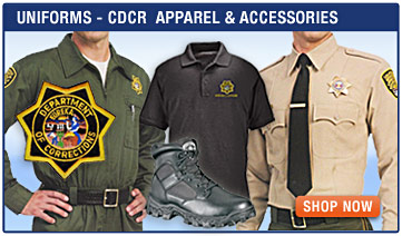 California Dept of Corrections & Rehabilitation Uniforms - Jumpsuits, Class A & B Pants, Hats, Leather Gear, Insignias, Patches, Rocky Boots, Shirts, Pants, Jackets, Hats, and Accessories