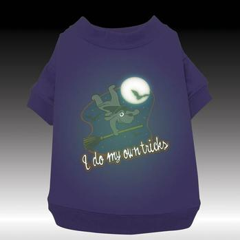 Zack & Zoey Dog Halloween T-shirt - Glow View - I do tricks