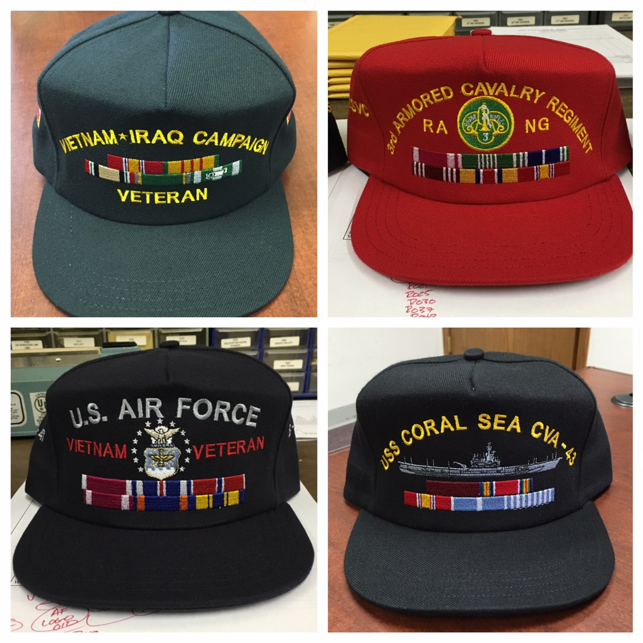 custom embroidered army air force navy usmc hat with military ribbons