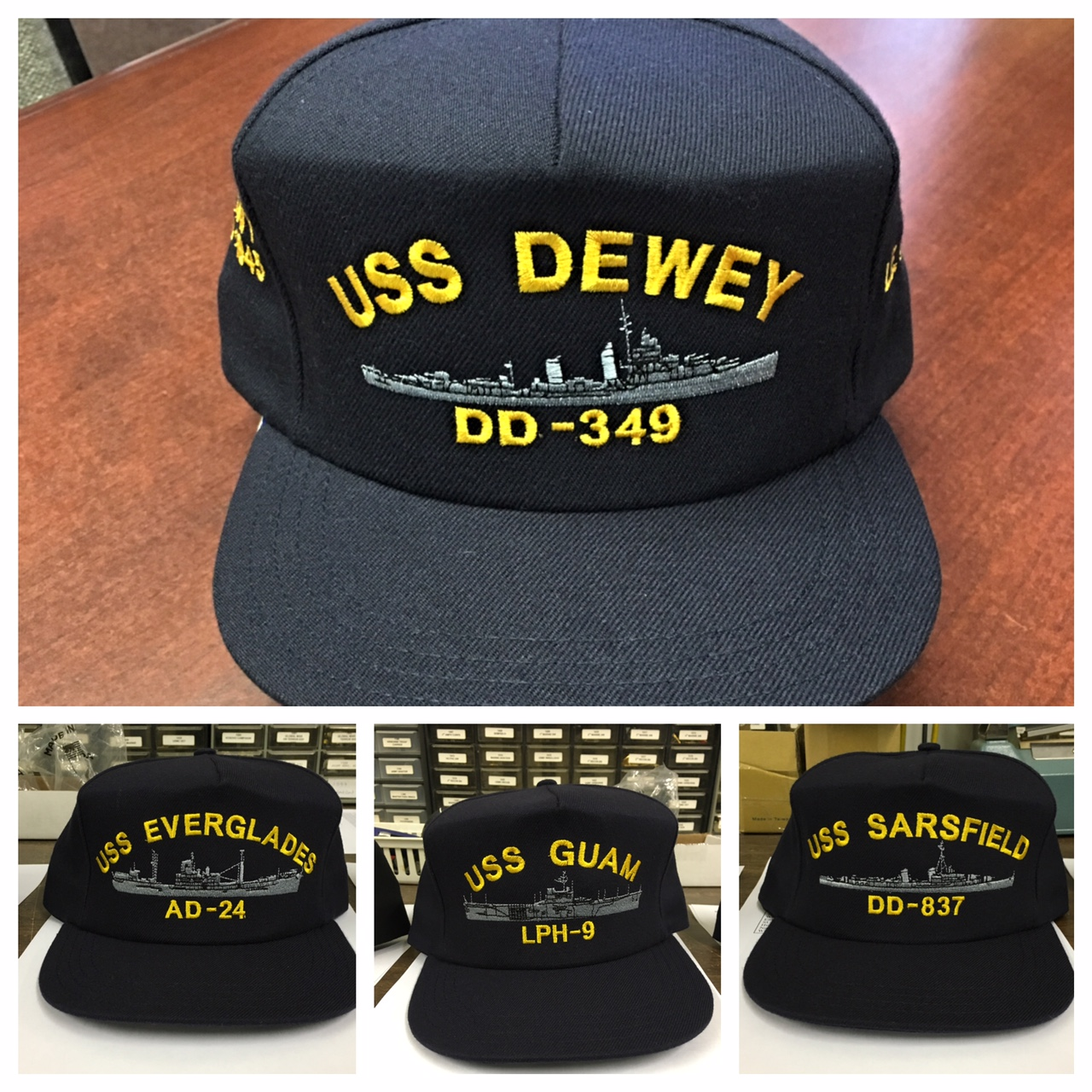 ... custom us navy ships cap hat uss with ribbons custom embroidered ... ec19ddda39e