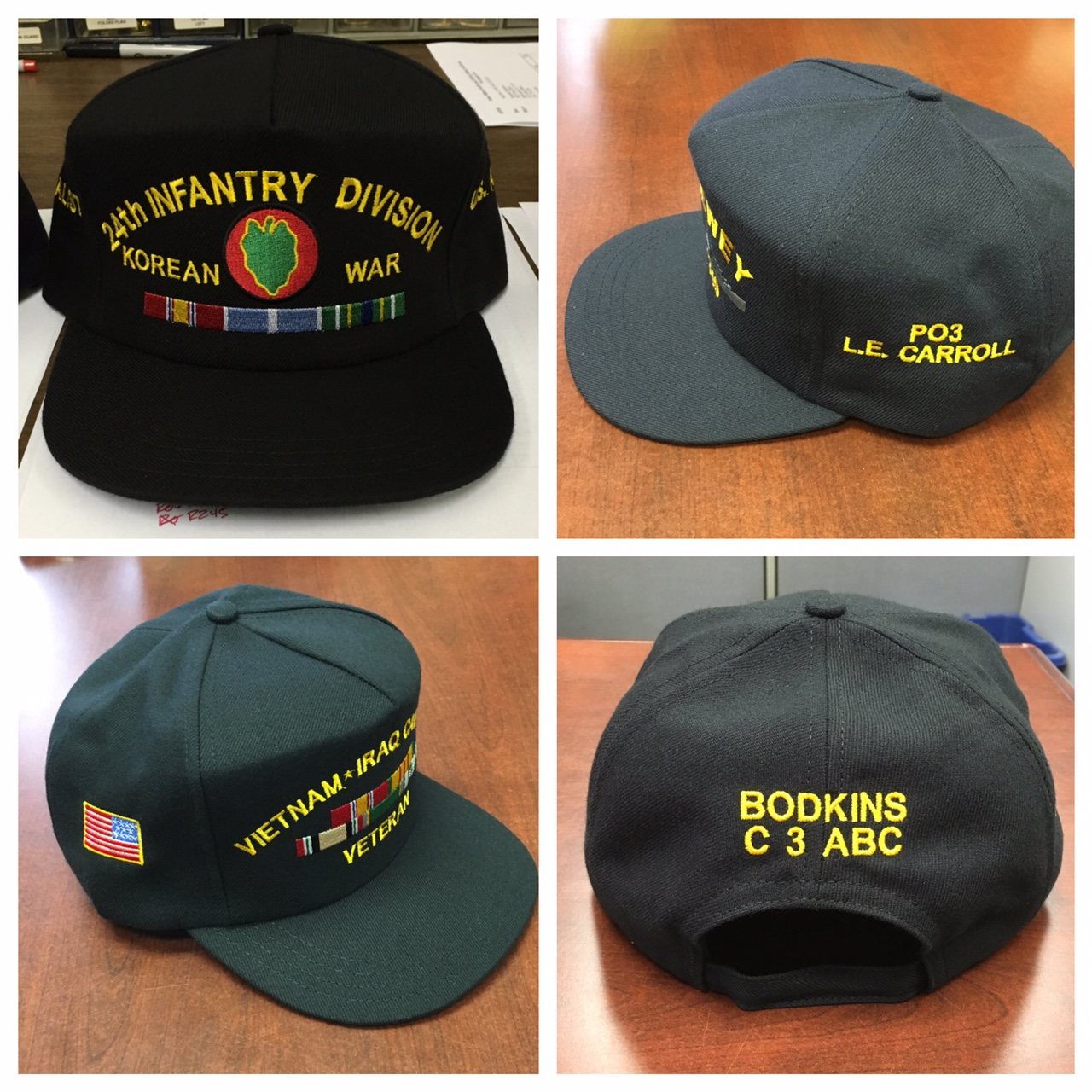 ... custom embroidered army air force navy usmc hat with military ribbons 4bcfcf4984b