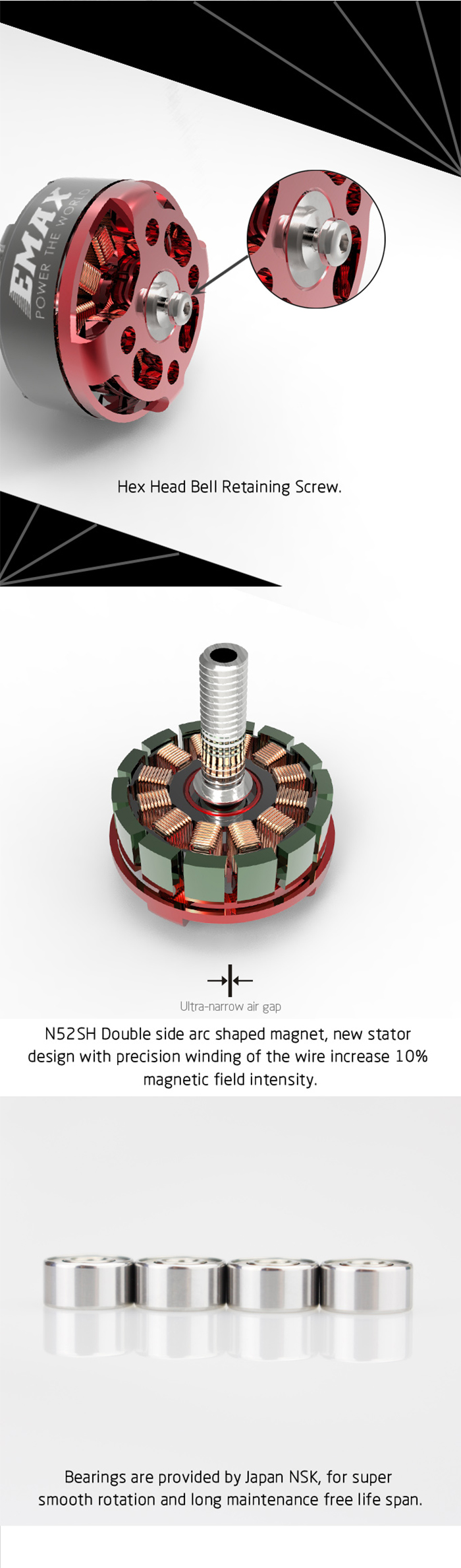 Emax RS2205S 2300KV Cooling Series Brushless Motor for FPV Racing Quad