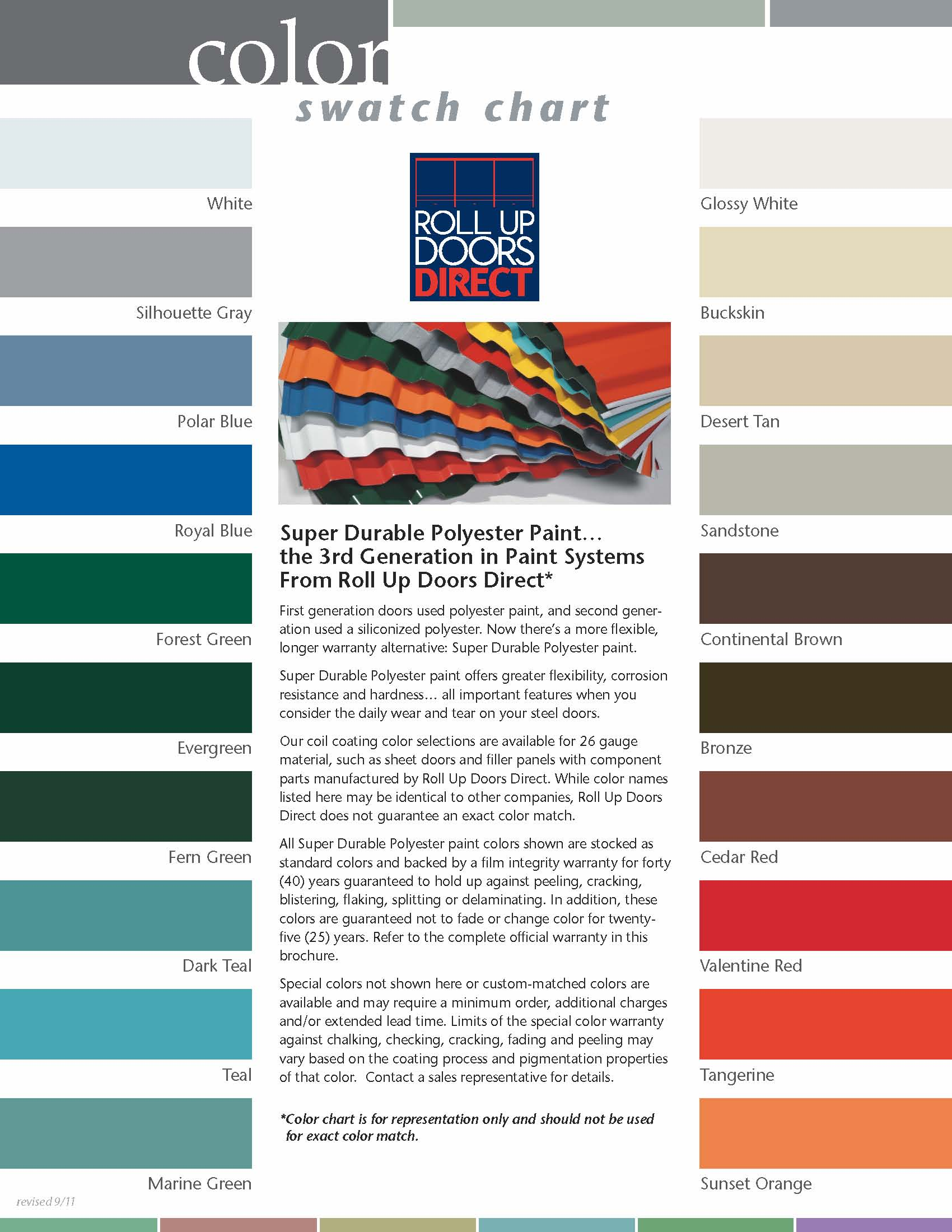 What colors are roll up doors avaliable in for 12x12 roll up garage door
