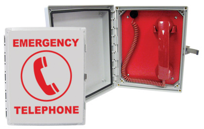 624POOL Enclosed, Emergency Analog Pool Phone with (Handset & Coil Cord)