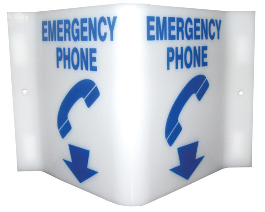 7025 Plastic Projecting Emergency Phone Sign