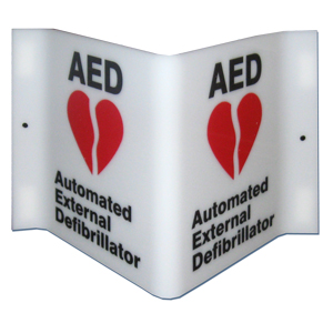 7020 Plastic Projecting AED & Emergency Phone Sign