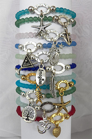 Sea Glass and Nautical Charm Bracelets