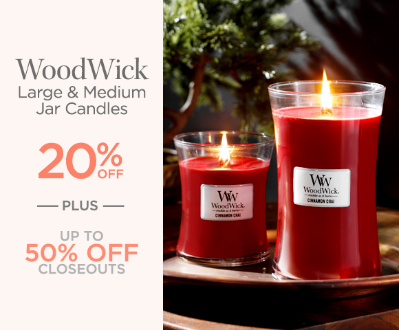 WoodWick - Large and Medium Jar Candles - 20 Percent OFF - Plus Up To 50 Percent OFF Closeouts