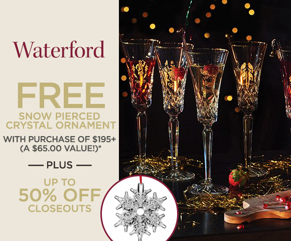 Waterford - FREE Snow Pierced Crystal Ornament with Purchase of $195+ - A $65.00 Value* - Plus, Up To 50% OFF Closeouts
