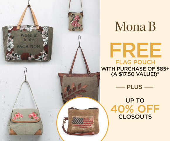 Mona B - Free Flag Pouch with purchase of $85+ - A $17.50 Value  - Plus Up to 40 Percent OFF Closeouts
