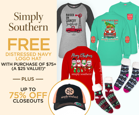 Simply Southern - FREE Distressed Navy Logo Hat with Purchase of $75+ - A $25 Value  - Plus Up To 75 Percent OFF Closeouts