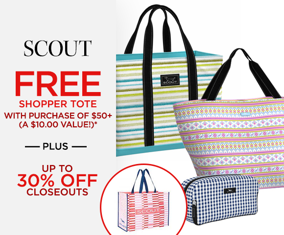 SCOUT Bags Free Shopper Tote with Purchase of $50+ - A $10.00 Value* - Plus Up To 30 Percent OFF Closeouts