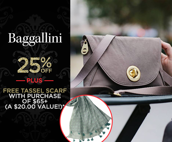 Baggallini - 25 Percent OFF - Plus, FREE Tassel Scarf with Purchase of $65+ - A $20.00 Value - Click for Details