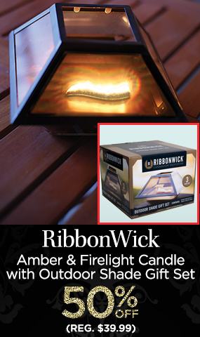RibbonWick Amber & Firelight Candle with Outdoor Shade Gift Set 