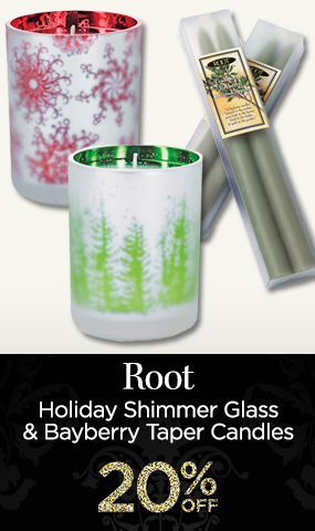 Root Holiday Shimmer Glass and Bayberry Taper Candles - 20 Percent OFF