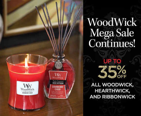 WoodWick - Mega Sale Continues! Up to 35 Percent OFF ALL WoodWick, HearthWick, and RibbonWick