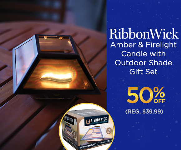 RibbonWick - Amber & Firelight Candle with Outdoor Shade Gift Set 50 Percent OFF - Reg. $39.99