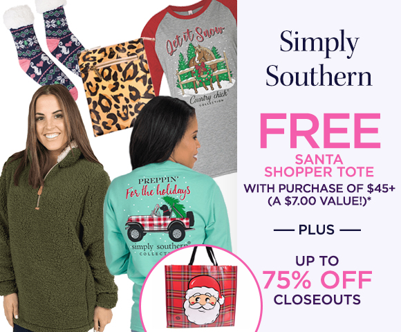 Simply Southern - FREE Santa Shopper Tote with Purchase of $45+ - A $7.00 Value* - Plus Up To 75 Percent OFF Closeouts