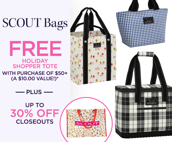 SCOUT Bags - Free Holiday Shopper Tote with Purchase of $50+ - A $10.00 Value* -  Plus Up To 30 Percent OFF Closeouts