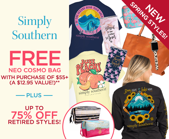 Simply Southern - FREE Neo Cosmo Bag with Purchase of $55+ - A $12.95 Value** - Plus Up To 75 Percent OFF Closeouts