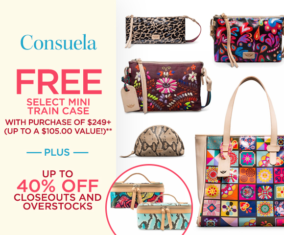Consuela - FREE Select Mini Train Case with Purchase of $249+ - Up To A $105.00 Value** - Plus Up To 40 Percent OFF Closeouts and Overstocks