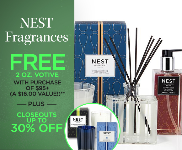 NEST Fragrances - FREE 2 ounces Votive with Purchase of $95+ - A $16.00 Value - Plus Closeouts Up To 30 Percent OFF