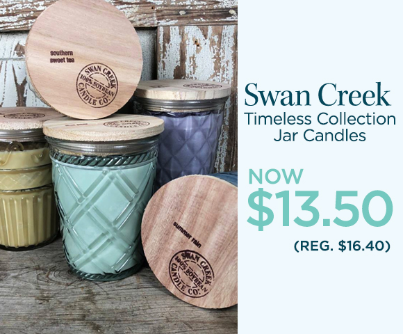 Swan Creek - Timeless Collection Jar Candles - NOW $13.50 - Reg. $16.40 Percent